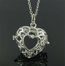 Silver Locket Necklace Fragrance Essential Oil Aromatherapy Diffuser Pendant A1