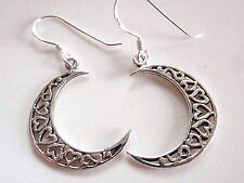 Hearts in Crescent Moon Earrings 925 Sterling Silver Dangle Corona Sun Jewelry
