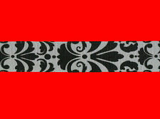 "damask black white grosgrain ribbon 7/8"" per 1 mtr hair scrapbooking card making"