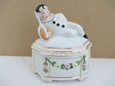 Vintage German Porcelain PIERROT with Banjo Powder Box marked 3140 Germany