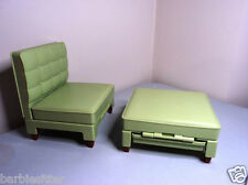 Green funky style seat & matching foot stool Mattel BARBIE doll house furniture