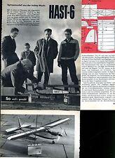 Bauplan HAST 6--Flugmodell - Orginal  von 1956