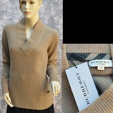 BURBERRY LONDON New sz M 100% Cashmere Authentic Designer Womens Sweater Camel