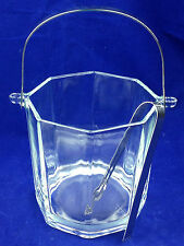 glass ice bucket octagon shaped glass ice bucket chrome handle tongs
