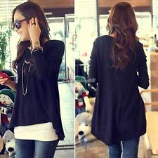 OVERSIZED WOMENS CASUAL LONG SLEEVE TEE SHIRT LADIES LOOSE CREW NECK TOPS BLOUSE