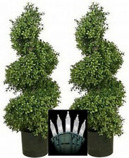 "2 Artificial 36"" Outdoor Boxwood wide Spiral Topiary Tree Christmas Lights 3ft"