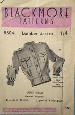 Vintage 40's BLACKMORE 5806 WW2 LADIES LUMBER/BOMBER JACKET Sewing Pattern