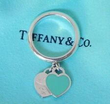 Tiffany & Co. Size 5.5 Double 2 Silver Blue Return To Dangle Dangling Heart Ring