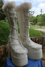 Demonia huge platform fur boots, White, Knee high Goth Punk Rave Festival Size 8