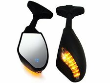 Matte Black Turn Signal Integrated Mirrors LED For Kawasaki Yamaha Honda Suzuki