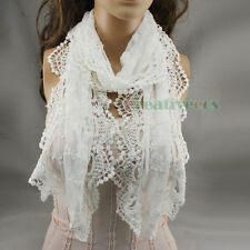 Classic Cotton Delicate Embroidery Floral Lace Breeze Crochet Scarf Shawl Gift