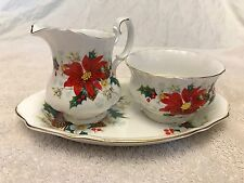 ROYAL ALBERT CREAM & SUGAR W/TRAY CHRISTMAS PATTERN POINTSETTIA YULETIDE