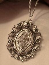 Swirl Seashells Rim Metal Beaded Textured Rhombus Silvertone Pendant Necklace