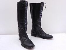 Vintage Womens 8 M VIA SPIGA Black Leather Laced Side Zip Cap Toe Boots ITALY