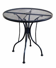 30 Inch Round Black Mesh Wrought Iron Metal Table Outdoor Restaurant Cafe Patio