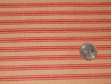 1/2 YARD PIECE ~ RED & TAN TICKING HOMESPUN STRIPED COTTON FABRIC