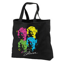 Marilyn Monroe New Black Cotton Tote Bag Neon Warhol Pop