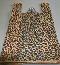 "500 LEOPARD print Plastic T-Shirt Bags w/Handles 8"" x 5"" x 16"" gift party retail"