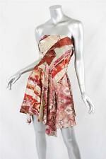 ROBERTO CAVALLI Red+Multicolor Floral Pattern Tube Above-Knee Flowy Dress 42
