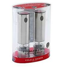Cole & Mason Battersea Stainless Steel Electric Mills Gift Set with Light