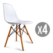 White Set of 4 Mid Century Eames Style DSW Dining Side Chairs w/Wood Legs