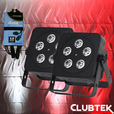 2x LEDJ Black Slimline 5Q5 RGBW LED DMX DJ Disco Par Party Uplighter + DMX Cable