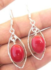 CHRISTMAS DAY JEWELRY RED AGATE GEMSTONE 925 STERLING SILVER OVERLAY EARRING!