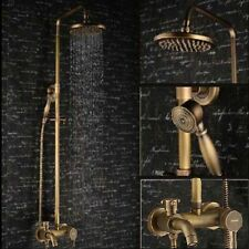 "NEW Luxury Antique Brass Wall Mounted 8""Rain Shower Faucet Set Bathtub Mixer Tap"