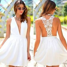 LF style crochet laced Racerback White Dress Nwt Size Au size 8/Small