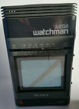 Sony MEGA WATCHMAN FD-500 Black and White TV AM/FM Radio WORKS!