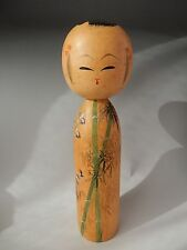 Antique Japanese Traditional Kokeshi Wood Doll Artist Sign Sparrow Bamboo H11.7""