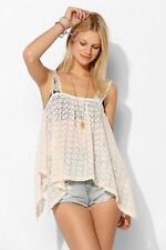 Staring at Stars Lace Embroidered Semi Sheer Tank/Cami/Top  M  BOHO HIPPIE CHIC