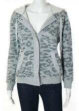 REBECCA TAYLOR Two Tone Gray Cotton Animal Button Down Hooded Sweater Sz XS