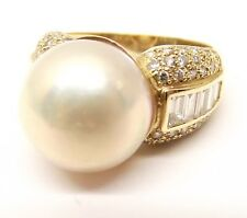 Vtg 14K Gold Large Cultured Pearl Diamond Ring Sz 8.5 Estate 1.2 Carat TCW