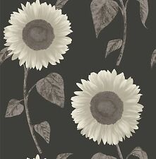 Fine Decor - FD30271 - Sunflower Patterned Wallpaper - Cream / Charcoal / Black