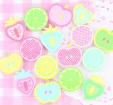 6 x Summer Fruits Pastel Resin Cabochons Embellishments Decoden Kawaii Craft Mix