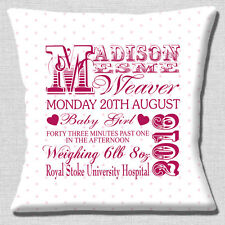 "PERSONALISED BIRTH ANNOUNCEMENT Name Date Weight Time 16"" Pillow Cushion Cover"