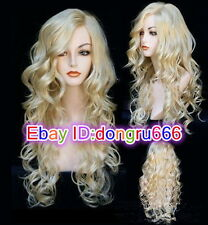 Beautiful Fashion wig New Charm Women's long Blonde Curly Natural Hair Full wigs