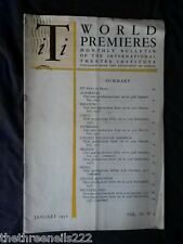 INTERNATIONAL THEATRE INSTITUTE WORLD PREMIER - JAN 1952 VOL 3 #4