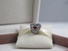 New w/Box Pandora July Signature Heart Charm #791784SRU Synthetic Ruby Birthday