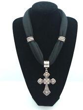 Women's short Cross Pendants Jewelry Necklace Scarf