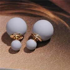 Fashion Women Candy Color Double Pearl Elegant Ear Stud Girls Beads Earrings