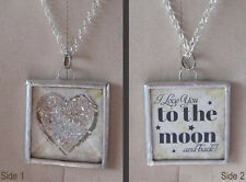 Glitter Heart - To the Moon Charm by IMCC - Crystal Dangle by Jewel Kade