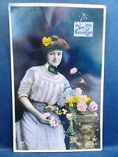 Postcard RPPC Real Photo French Tinted Pretty Woman Vive Ste Catherine