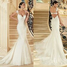 low back Mermaid V-Neck White Ivory Wedding Dresses Bridal Gown Custom Size