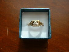 Vintage 1920's Deco Style Gold Diamond Solitaire Filigree Stuller Ring 8