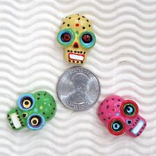 "WHOLESALE - 18 pcs x 1"" Resin Flatback Skull/Zombie Embellishment for Bow SB566W"