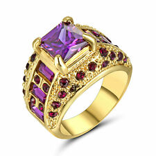 Rings Size 8 Square Purple Amethyst Womens 10Kt Yellow Gold Filled Engagemen
