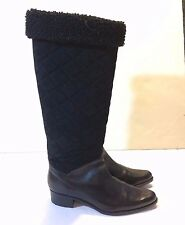 Te Casan NY Tall Quilted Fur Black Suede/Leather Winter Boots Sz 36 US Sz 6