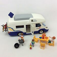 Awesome Playmobil Camper Van With 4 Family Members And Accessories